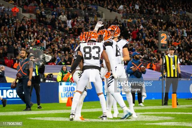Cincinnati Bengals Wide Receiver Tyler Boyd celebrates with teammates after a touchdown during the NFL game between the Cincinnati Bengals and the...
