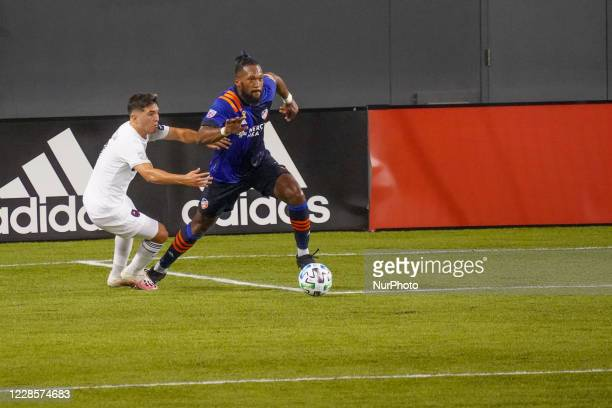FC Cincinnati defender and team captain Kendall Waston moves the ball upfield during a MLS soccer match between FC Cincinnati and the Chicago Fire...