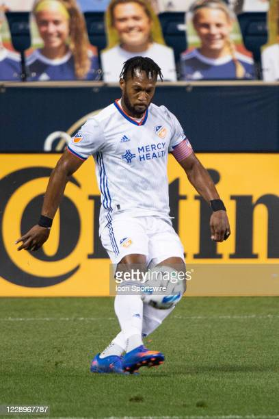 Cincinnati Defender Kendall Waston controls the ball during the first half of a Major League Soccer game between FC Cincinnati and the Philadelphia...
