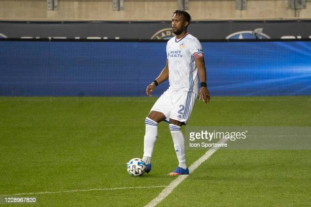 Cincinnati Defender Kendall Waston controls the ball during the second half of a Major League Soccer game between FC Cincinnati and the Philadelphia...