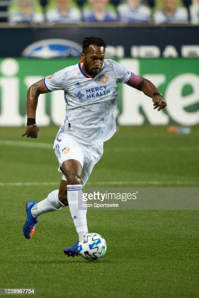 Cincinnati Defender Kendall Waston dribbles the ball up the field during the first half of a Major League Soccer game between FC Cincinnati and the...