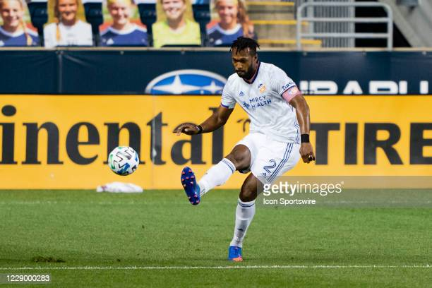 Cincinnati Defender Kendall Waston kicks the ball during the first half of a Major League Soccer game between FC Cincinnati and the Philadelphia...