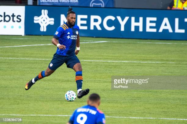 FC Cincinnati defender Kendall Waston moves the ball upfield during a MLS soccer match between FC Cincinnati and Columbus Crew that ended in a 00...