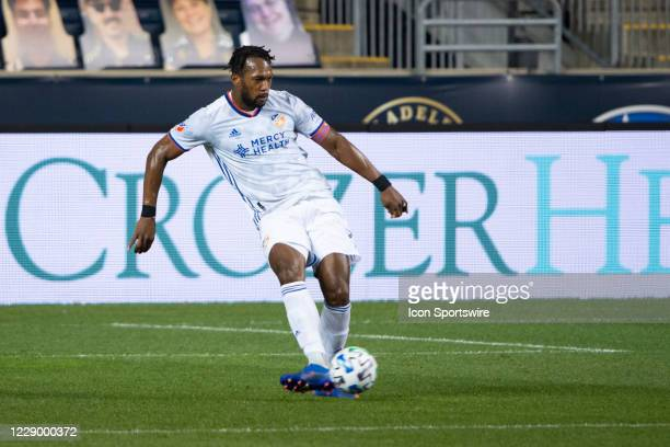 Cincinnati Defender Kendall Waston passes the ball during the first half of a Major League Soccer game between FC Cincinnati and the Philadelphia...