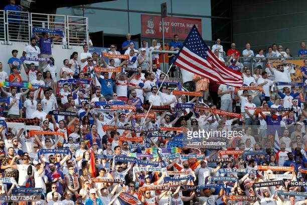 Cincinnati fans before the start of the game against the D.C. United at Nippert Stadium on July 18, 2019 in Cincinnati, Ohio.