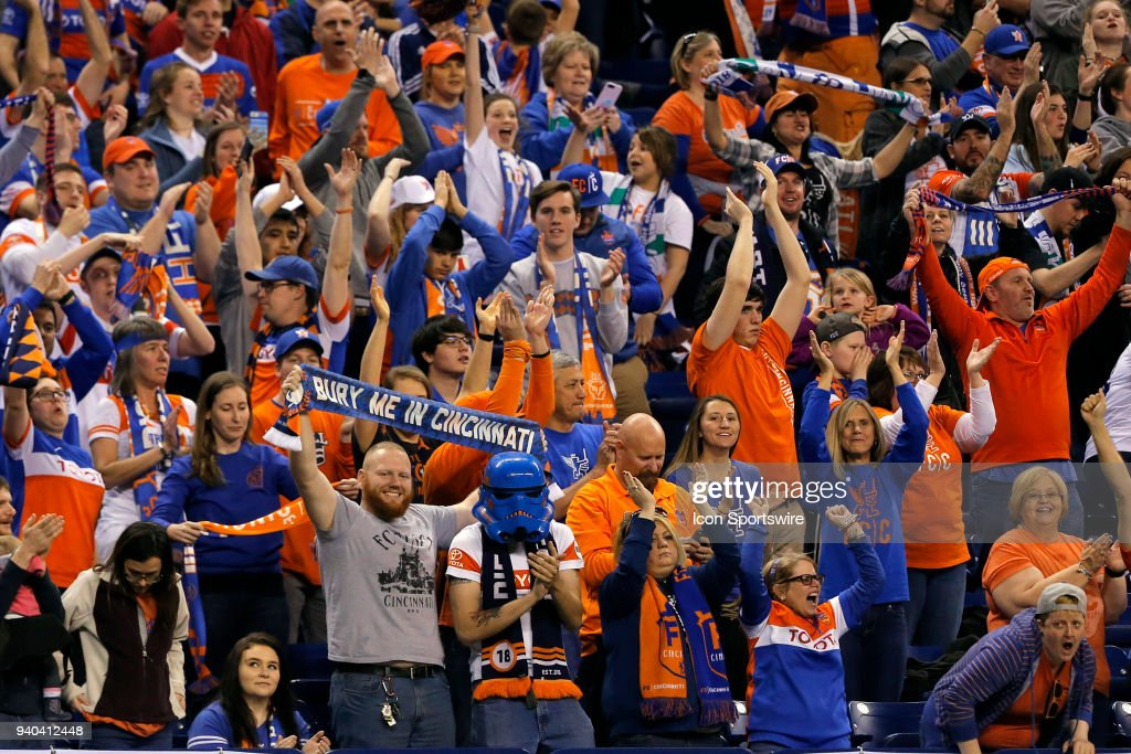 FC Cincinnati fans celebrate their victory during the USL Soccer match between FC Cincinnati an Indy Eleven on March 31, 2018, at Lucas Oil Stadium in Indianapolis IN. FC Cincinnati defeated the Indy Eleven 1-0.