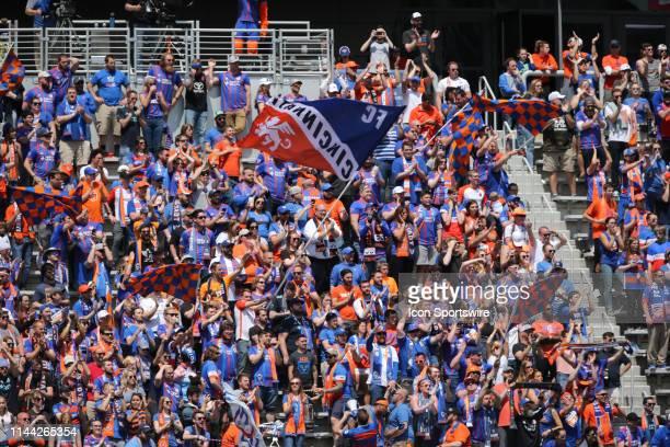 Cincinnati fans cheer during the match against FC Cincinnati and Montreal Impact on May 11th 2019, at Nippert Stadium in Cincinnati OH.