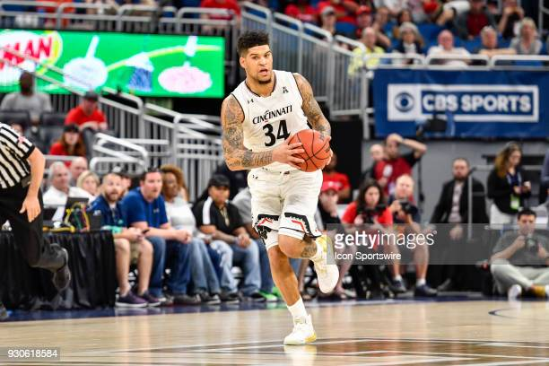 Cincinnati guard Jarron Cumberland starts the fast break during the first half of the AAC Men's Basketball Conference Tournament Championship game...
