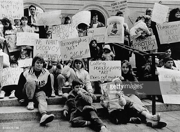 Cincinnati: Hundreds of anti-porn protesters gathered outside the Hamilton Co. Courthouse in protest of the Robert Mapplethorpe photo exhibition. The...