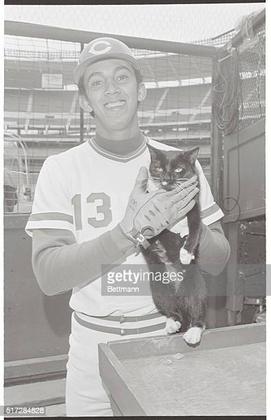 It's supposedly unlucky Friday the 13th but the Reds' Dave Concepcion proves he's fearless by playing with a black cat at Riverfront Stadium...