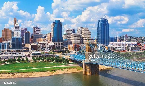 cincinnati ohio skyline with john roebling bridge aerial view - cincinnati stock pictures, royalty-free photos & images