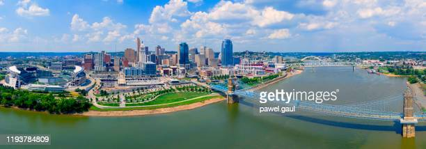 cincinnati ohio skyline with john roebling bridge  aerial view summer - ohio stock pictures, royalty-free photos & images