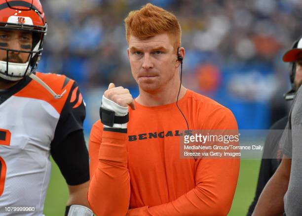Cincinnati quarterback Andy Dalton watches from the sideline at StubHub Center in Carson on Sunday Dec 9 2018