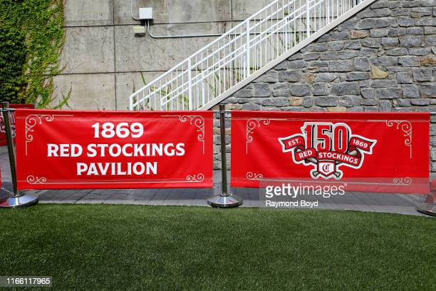 Cincinnati Red Stockings banner is displayed in the 1869 Red Stockings Pavilion at Great American Ballpark home of the Cincinnati Reds baseball team...