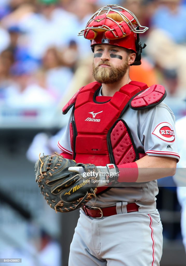 Cincinnati Reds Catcher Tucker Barnhart (16) is pictured during the Major League Baseball game between the Cincinnati Reds and the New York Mets on September 10, 2017 at Citi Field in Flushing, NY.