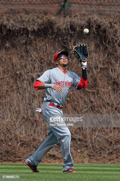 Cincinnati Reds center fielder Billy Hamilton catches a fly ball in action during a game between the Cincinnati Reds and the Chicago Cubs, at Wrigley...