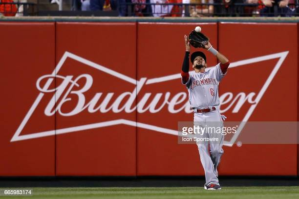 Cincinnati Reds center fielder Billy Hamilton catches for an out during the third inning of a baseball game against the St Louis Cardinals on April 7...