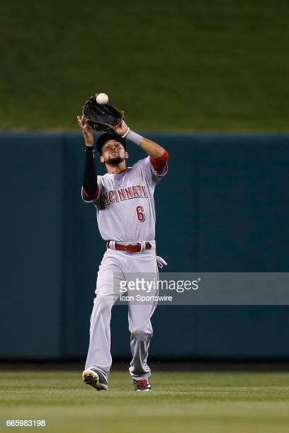 Cincinnati Reds center fielder Billy Hamilton catches for an out during the fifth inning of a baseball game against the St. Louis Cardinals on April...