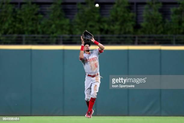 Cincinnati Reds center fielder Billy Hamilton makes a catch for an out during the seventh inning of the Major League Baseball Interleague game...