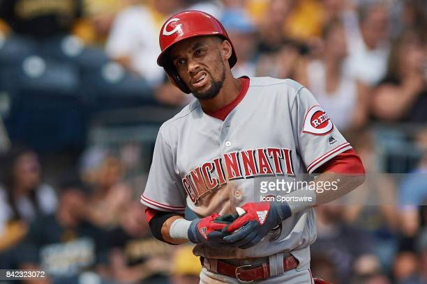 Cincinnati Reds center fielder Billy Hamilton reacts to his pop fly during a MLB game between the Pittsburgh Pirates and the Cincinnati Reds on...