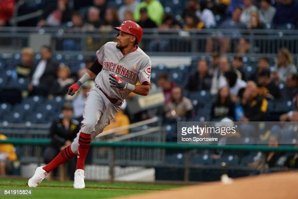 Cincinnati Reds center fielder Billy Hamilton returns to first base in the first inning during a MLB game between the Pittsburgh Pirates and the...