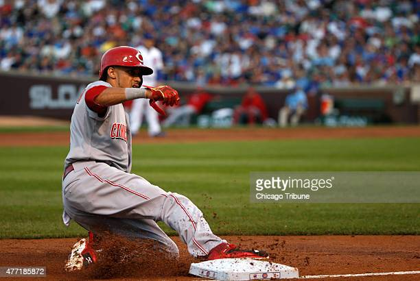 Cincinnati Reds center fielder Billy Hamilton safely slides into third base against the Chicago Cubs on Sunday June 14 at Wrigley Field in Chicago