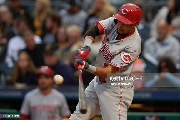 Cincinnati Reds center fielder Billy Hamilton singles on a line drive in the first inning during a MLB game between the Pittsburgh Pirates and the...
