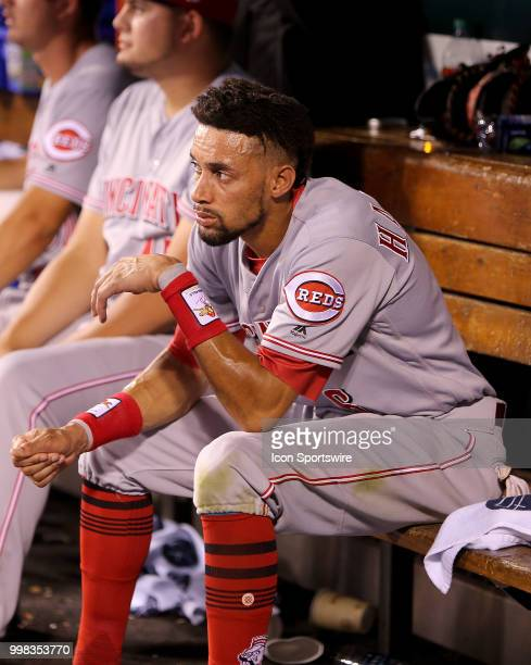 Cincinnati Reds center fielder Billy Hamilton watches from the dugout during the sixth inning of a baseball game against the St Louis Cardinals on...