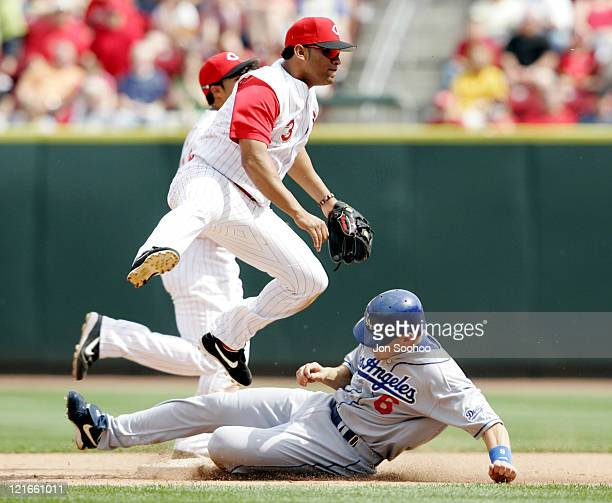 Cincinnati Reds D'Angelo Jimenez turns double play to end the game with the Los Angeles Dodgers Saturday May 7, 2005 at Great American Ballpark in...
