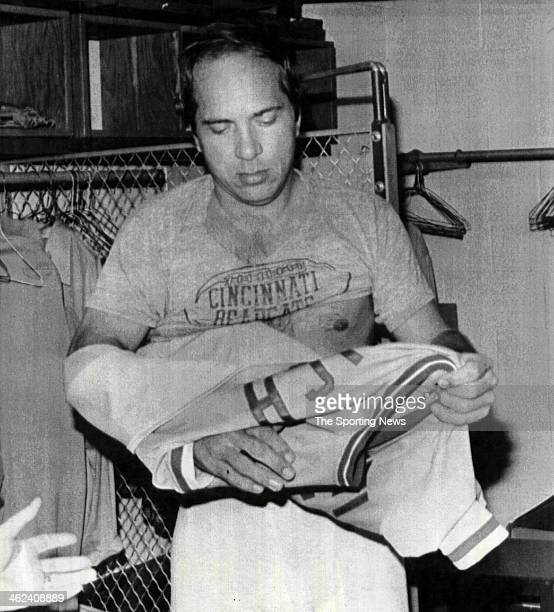 Cincinnati Reds future Hall of Famer Johnny Bench removes his jersey for the final time on October 1 after the Reds defeated the Astros 64 in Houston...