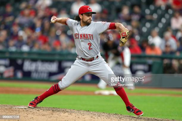 Cincinnati Reds infielder Alex Blandino delivers a pitch to the plate as he pitches the eighth inning of the Major League Baseball Interleague game...