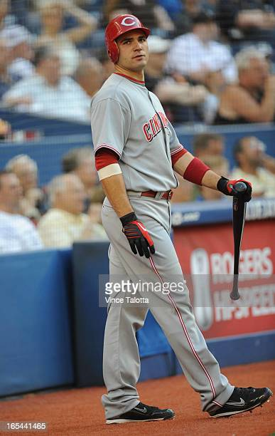 VT Cincinnati Reds Joey Votto of Toronto goes to bat in the first inning and strikes out against the Toronto Blue Jays at the Rogers Centre