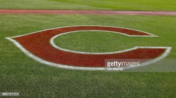 Cincinnati Reds logo is painted on the grass during the spring training game between the Cincinnati Reds and the Los Angeles Angels at Goodyear...