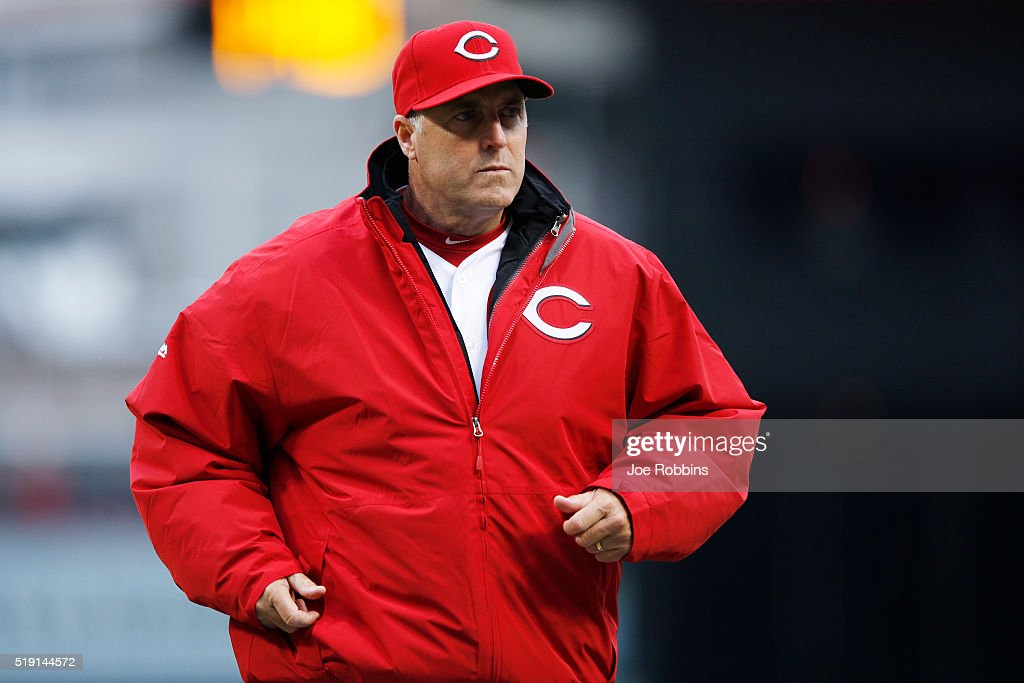 Cincinnati Reds manager Bryan Price looks on during the opening day game against the Philadelphia Phillies at Great American Ball Park on April 4, 2016 in Cincinnati, Ohio. The Reds defeated the Phillies 6-2.