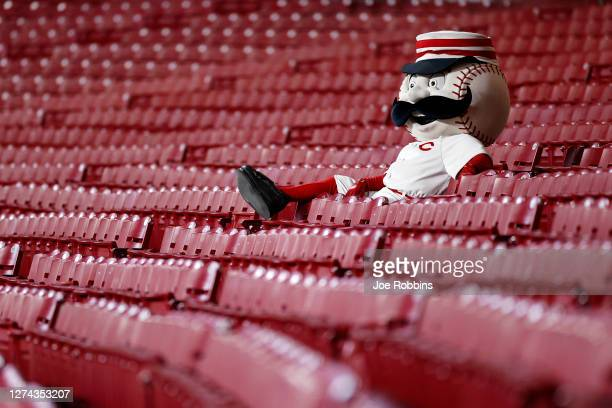 Cincinnati Reds mascot Mr. Redlegs watches the game from the stands in the seventh inning against the Milwaukee Brewers at Great American Ball Park...