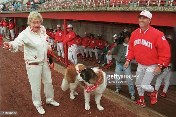 Cincinnati Reds owner Marge Schott walks her St Bernard Schottzie as Reds manager Ray Knight exits the dugout to greet her before the start of the...