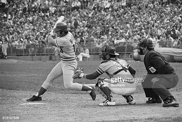 Cincinnati Reds' Pete Rose and Oakland Athletics' catcher Gene Tenace have verbal runin at the plate during 5th inning of 5th game of World Series at...