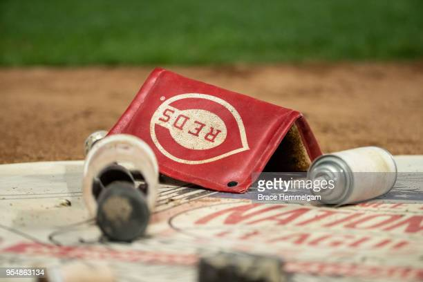 Cincinnati Reds pine tar rag in the ondeck circle against the Minnesota Twins on April 27 2018 at Target Field in Minneapolis Minnesota The Reds...