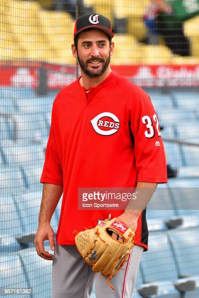Cincinnati Reds pitcher Matt Harvey looks on before a MLB game between the Cincinnati Reds and the Los Angeles Dodgers on May 10 2018 at Dodger...