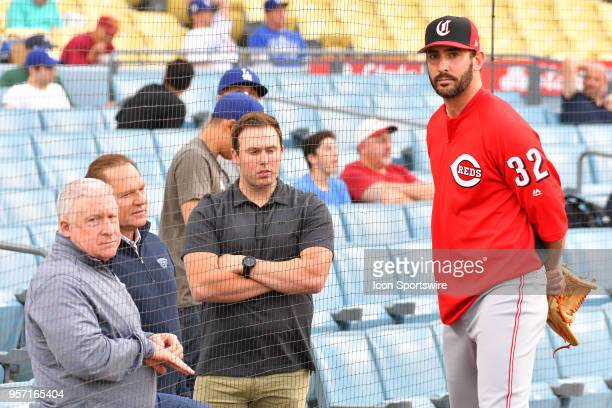 Cincinnati Reds pitcher Matt Harvey talks with agent Scott Boras before a MLB game between the Cincinnati Reds and the Los Angeles Dodgers on May 10...