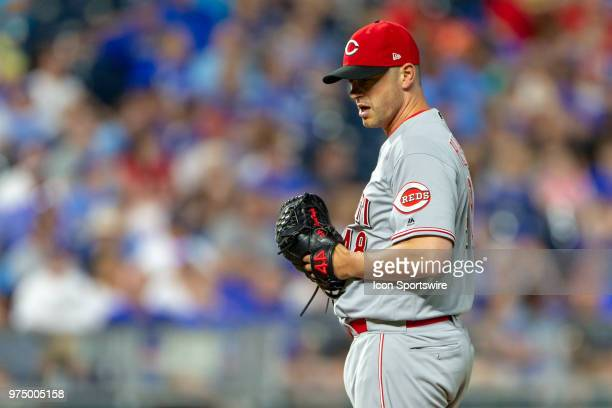 Cincinnati Reds relief pitcher Jared Hughes on the mound during the MLB interleague game against the Kansas City Royals on June 13 2018 at Kauffman...