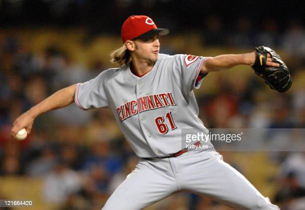 Cincinnati Reds starter Bronson Arroyo pitches during 20 loss to the Los Angeles Dodgers in Major League Baseball game at Dodger Stadium in Los...