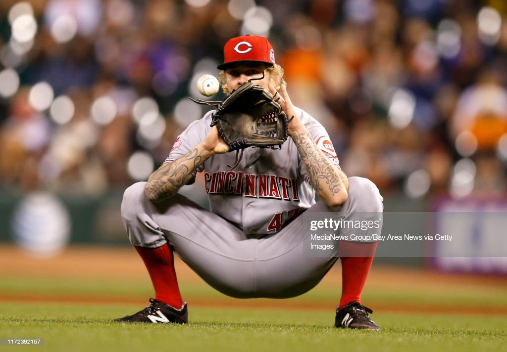 Cincinnati Reds' starting pitcher John Lamb (47) catches a ball between innings during their game against the San Francisco Giants in the fourth inning at AT&T Park in San Francisco, Calif., on Tuesday, Sept. 15, 2015. (Nhat V. Meyer/Bay Area News Group) : News Photo