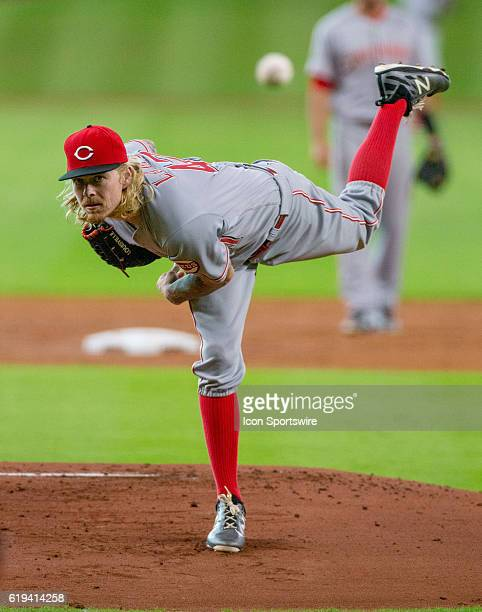 Cincinnati Reds starting pitcher John Lamb delivers the pitch against the Houston Astros during a MLB baseball game Friday June 17 in Houston...