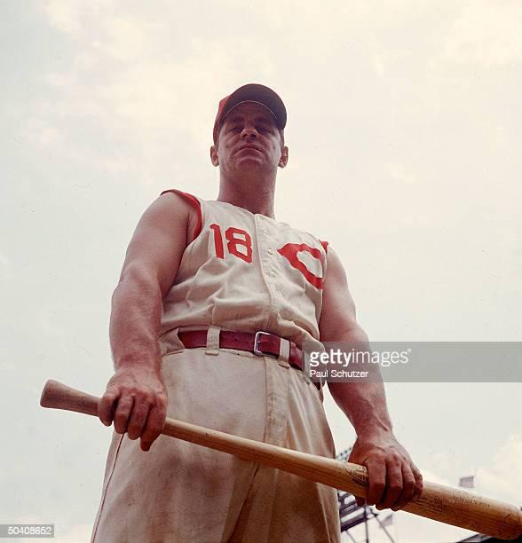 Cincinnati Reds Ted Kluszewski wearing new sleeveless uniform