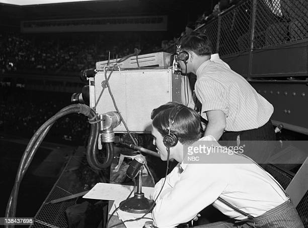 NBC SPORTS 'Cincinnati Reds vs Brooklyn Dodgers' Pictured A camera records the action while NBC TV announcer Ray Forrest calls the game as the...