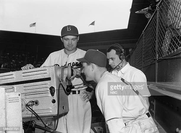 NBC SPORTS 'Cincinnati Reds vs Brooklyn Dodgers' Pictured Lew Riggs television engineer Stan Peck Jimmy Wasdell during a game between the Brooklyn...