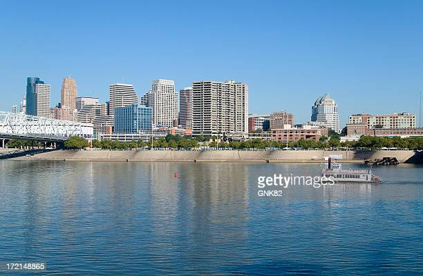 cincinnati riverfront skyline - newport beach stock pictures, royalty-free photos & images