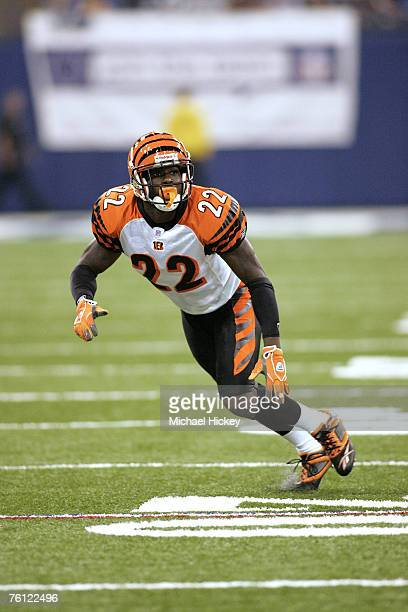 Cincinnati rookie Johnathan Joseph seen during action against Indianapolis at the RCA Dome in Indianapolis Indiana on September 1 2006 The Cincinnati...