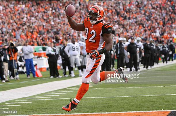 Cincinnati running back Rudi Johnson crosses the goal line for his second rushing touchdown during action against Oakland at Paul Brown Stadium in...